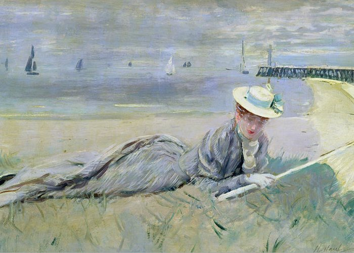 The Greeting Card featuring the painting On The Beach by Paul Cesar Helleu