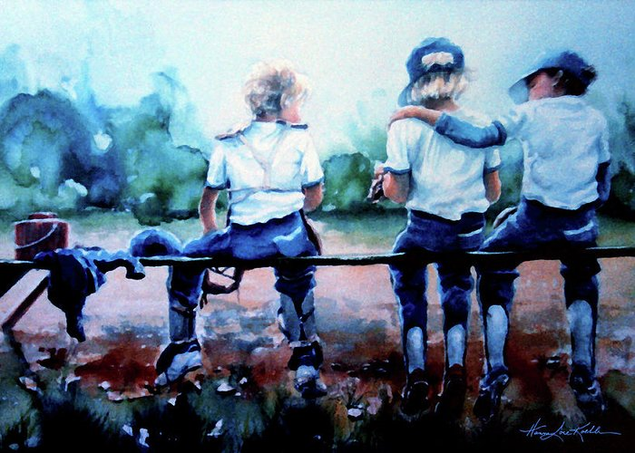 Boys Baseball Greeting Card featuring the painting On The Bench by Hanne Lore Koehler