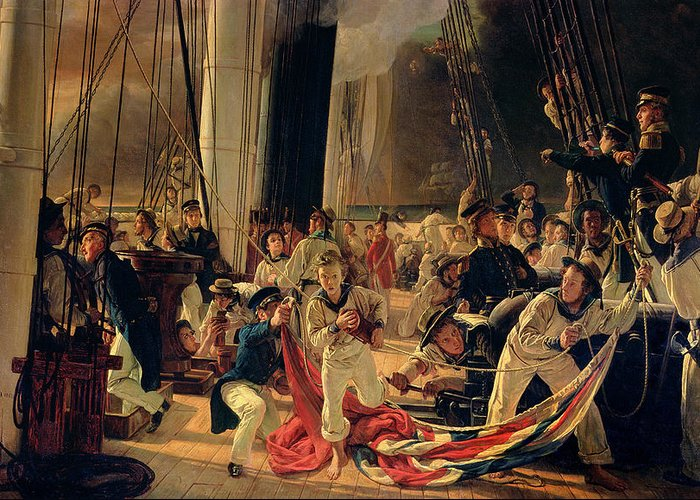 The Greeting Card featuring the painting On The Deck During A Sea Battle by Francois Auguste Biard
