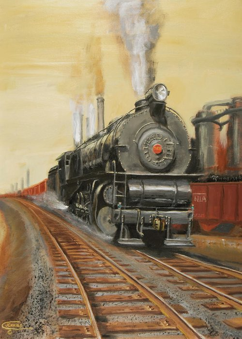 Train Greeting Card featuring the painting On The Great Steel Road by Christopher Jenkins