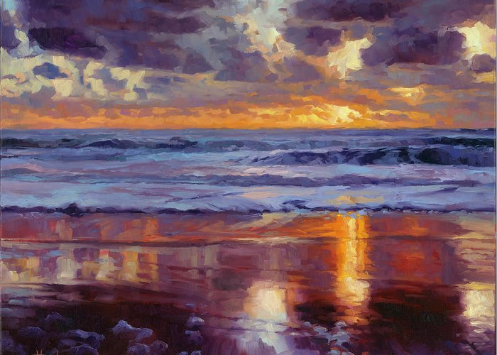 Ocean Greeting Card featuring the painting On the Horizon by Steve Henderson