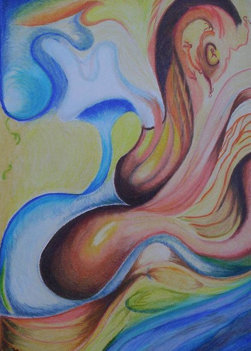 Abstract Greeting Card featuring the painting On The Island by Suzanne Udell Levinger