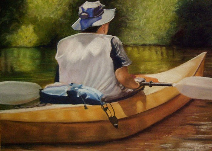 Pastel Greeting Card featuring the pastel On The Kickapoo by Marcia Hero