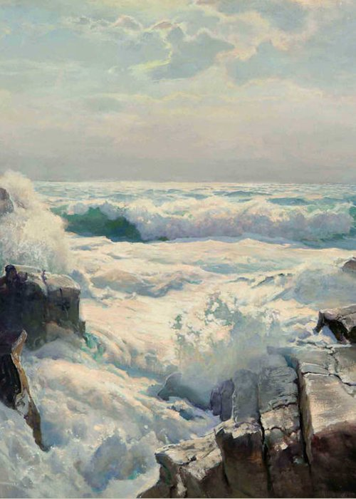 Pd Greeting Card featuring the painting On The Maine Coast by Pg Reproductions