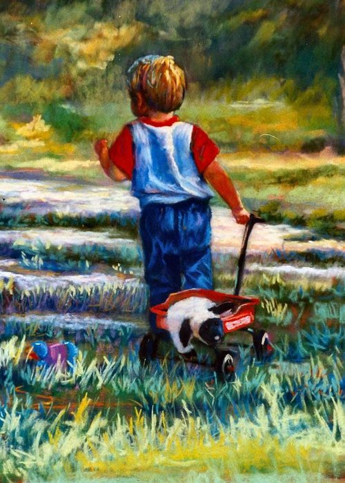 Children Greeting Card featuring the painting On The Move by Jimmie Trotter