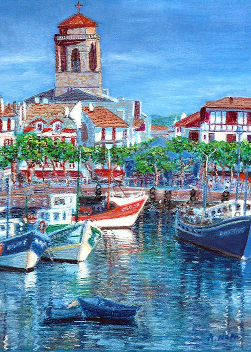 Landscape Greeting Card featuring the painting On The Old Harbor by Aymeric NOA