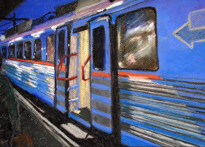 Train Greeting Card featuring the painting On The Platform by Art Nomad Sandra Hansen