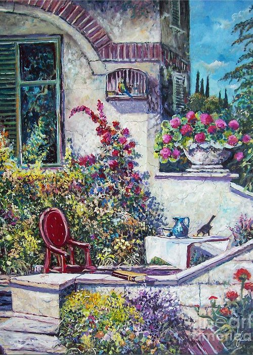 Original Painting Greeting Card featuring the painting On The Porch by Sinisa Saratlic