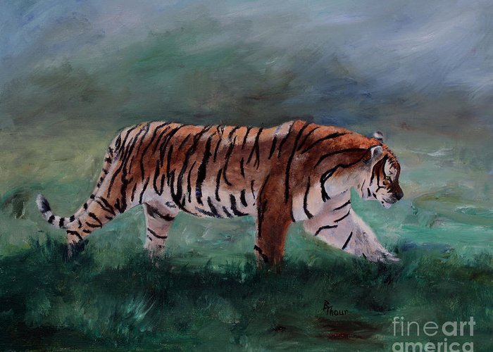 Tiger Greeting Card featuring the painting On The Prowl by Brenda Thour