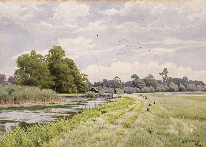 The Greeting Card featuring the painting On The River Ouse Hemingford Grey by William Fraser Garden