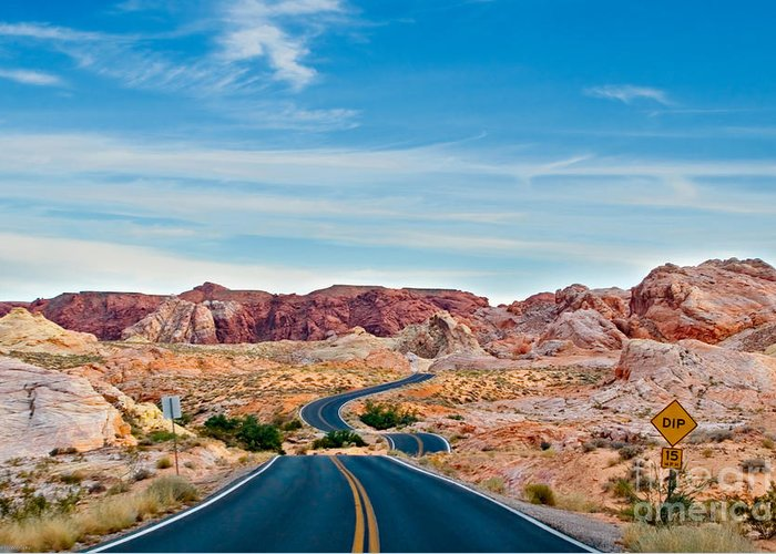 Landscape Greeting Card featuring the photograph On The Road - Valley Of Fire by Carl Jackson