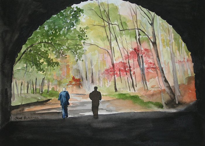 Road Greeting Card featuring the painting On The Road To Nowhere by Jean Blackmer