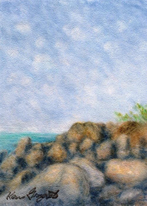 Rainbow Colors Pastel Greeting Card featuring the painting On The Rocks by Kenneth Grzesik
