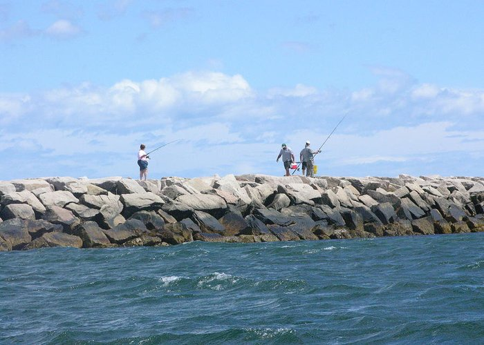 Saltwater Fishing Greeting Card featuring the photograph On The Rocks by Peter Williams
