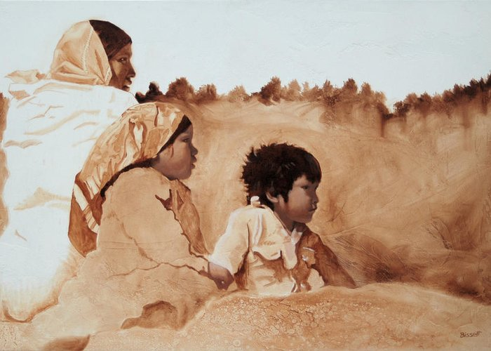 Tarahumara Greeting Card featuring the painting On The Rocks by Robert Bissett