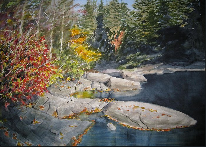 Landscape Greeting Card featuring the painting On The Rocks by Shirley Braithwaite Hunt