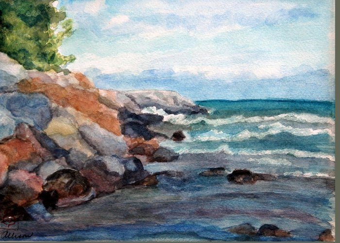 Seascape Greeting Card featuring the painting On the Rocks by Stephanie Allison