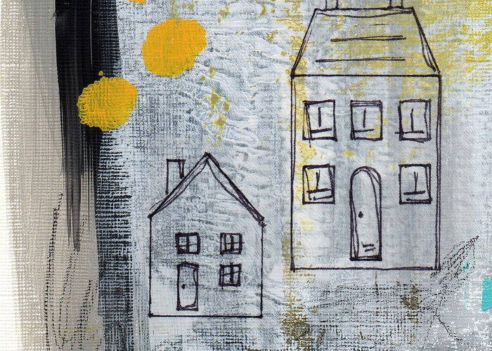 House Mixed Media Greeting Cards