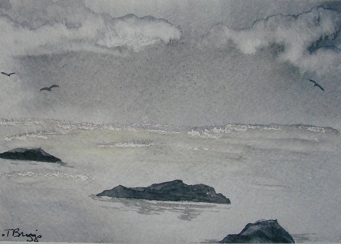 Ocean Greeting Card featuring the painting On The Sea by Dottie Briggs