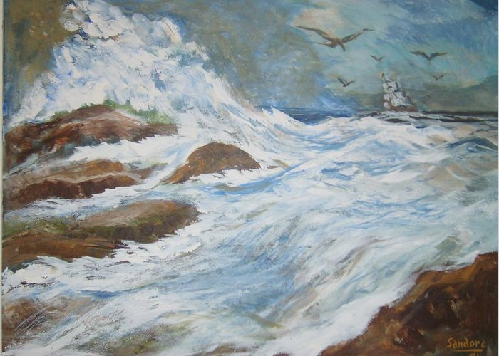 Seascape Greeting Card featuring the painting On The Sea by Joseph Sandora Jr