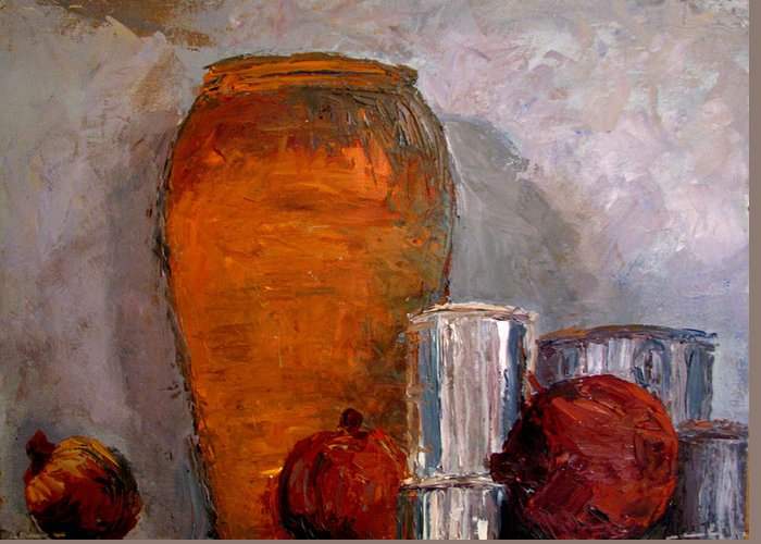 Still Life Greeting Card featuring the painting On The Shelf by Art Nomad Sandra Hansen