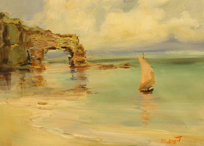 Sea Greeting Card featuring the painting On The Shore by Tigran Ghulyan