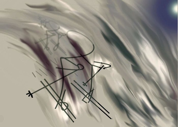 Abstract Greeting Card featuring the digital art On The Slopes by John Krakora