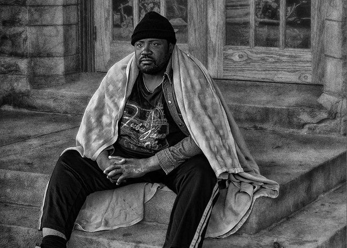 Homeless Greeting Card featuring the photograph On The Steps Of Gods' House by Kelly Rader