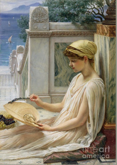 On The Terrace Greeting Card featuring the painting On The Terrace by Sir Edward John Poynter