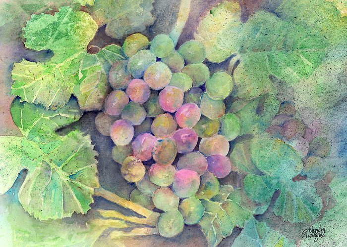 Grape Greeting Card featuring the painting On The Vine by Arline Wagner