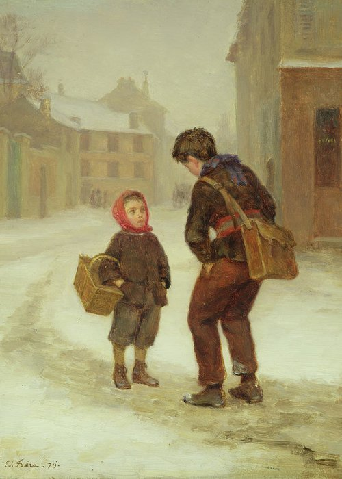 The Greeting Card featuring the painting On The Way To School In The Snow by Pierre Edouard Frere