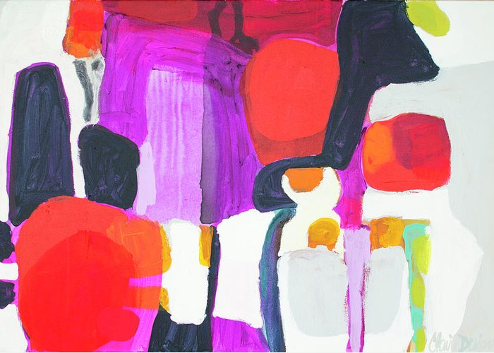 Abstract Greeting Card featuring the painting On Time by Claire Desjardins
