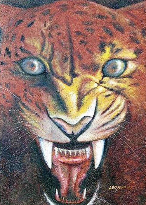 Animal Greeting Card featuring the painting Onca Pintada by Leomariano artist BRASIL