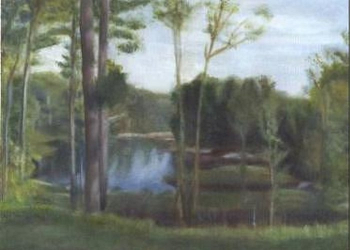 Landscape Greeting Card featuring the painting Once by Sheila Mashaw