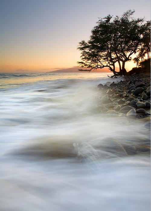 Sunset Greeting Card featuring the photograph One Against The Tides by Mike Dawson