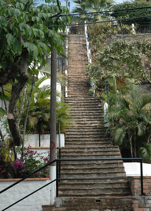 Stairs Greeting Card featuring the photograph One At A Time by Rebecca Fitzgerald