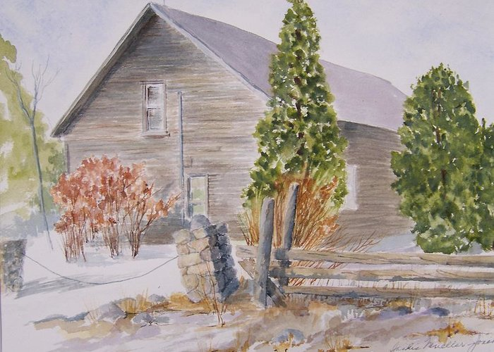 Greeting Card featuring the painting One Bit Of History - Bridge End by Jackie Mueller-Jones