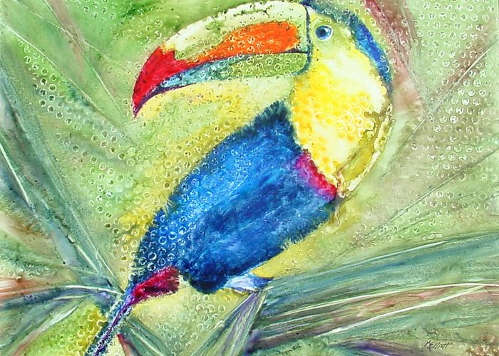 Toucan Greeting Card featuring the painting One Can't But Toucan by Marsha Elliott