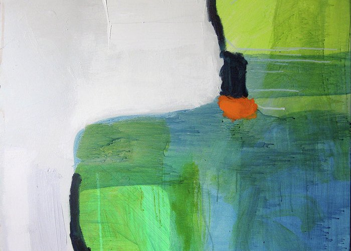 Abstract Greeting Card featuring the painting One Day I Was Dreaming by Claire Desjardins