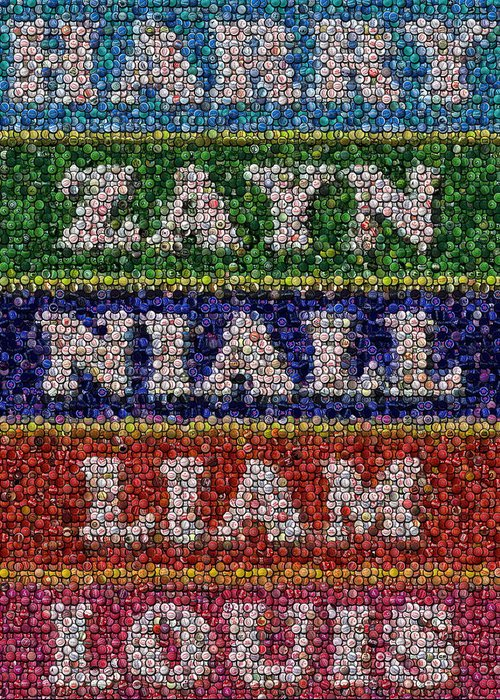 One Direction Greeting Card featuring the drawing One Direction Names Bottle Cap Mosaic by Paul Van Scott