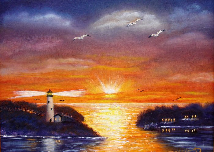 Sunset Greeting Card featuring the painting One Glorious Sunset by Darlene Green