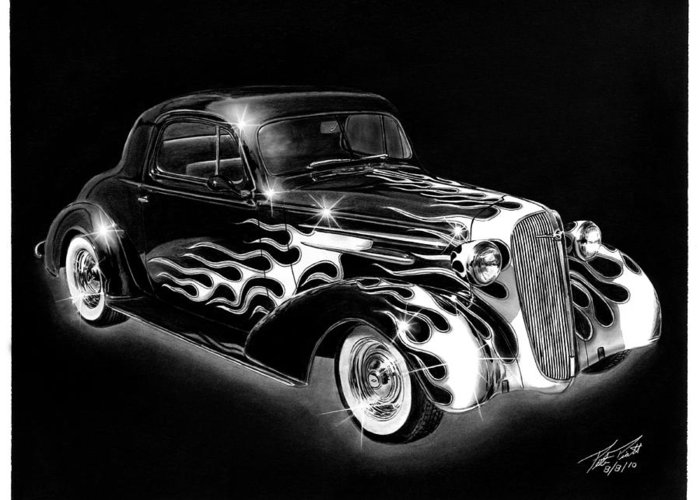 One Hot 1936 Chevrolet Coupe Greeting Card featuring the drawing One Hot 1936 Chevrolet Coupe by Peter Piatt