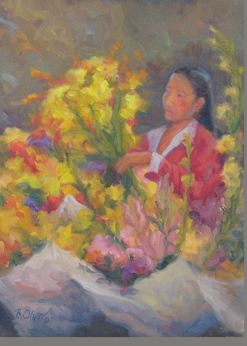 Woman Greeting Card featuring the painting One More Bouquet by Bunny Oliver