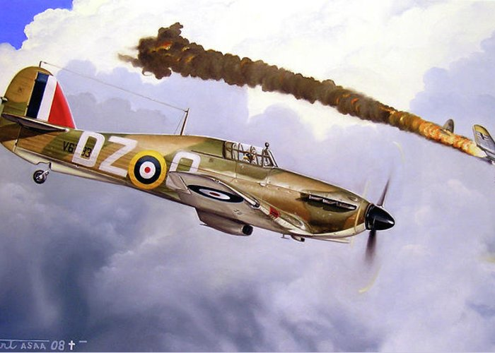 Aviation Art Greeting Card featuring the painting One Of The Few by Marc Stewart