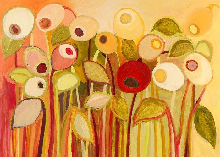 Floral Greeting Card featuring the painting One Red Posie by Jennifer Lommers