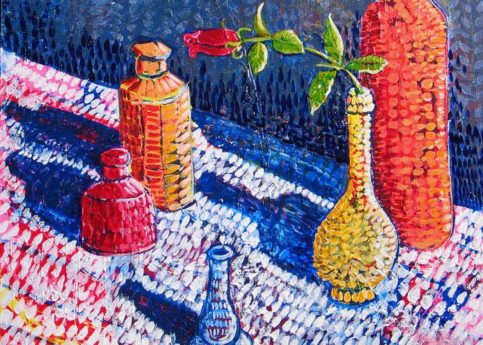 Still Life Greeting Card featuring the painting One Rose by Rollin Kocsis