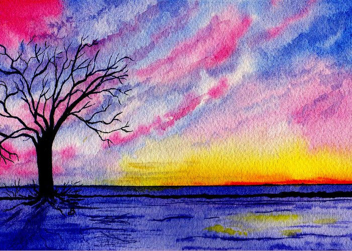 Watercolor Greeting Card featuring the painting One Sunrise by Brenda Owen
