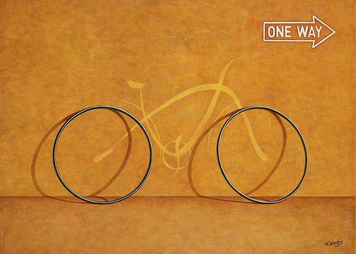 Bike Greeting Card featuring the painting One Way by Horacio Cardozo