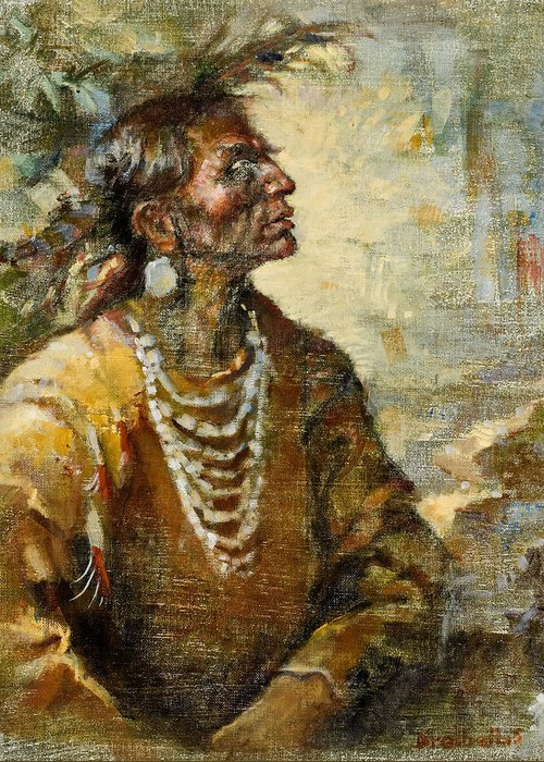 Native American Greeting Card featuring the painting One With The Earth by Ellen Dreibelbis
