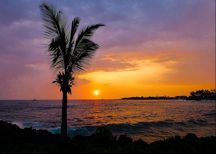 Hawaii Greeting Card featuring the photograph Oneo Bay Sunset by Pamela Newcomb